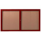 Aarco DCCW3660R 2 Door Indoor Enclosed Bulletin Board with Aluminum Wood-Look Cherry Finish 36