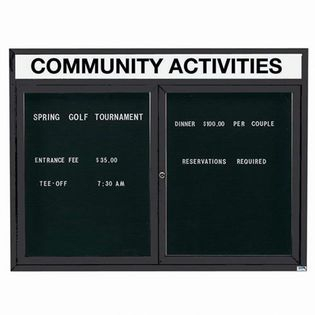 Aarco ADC3648HIBK 2 Door Illuminated Enclosed Directory Board with Black Anodized Aluminum Frame and Header 36