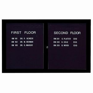 Aarco ADC3660IBK  2 Door Illuminated Enclosed Directory Board with Black Anodized Aluminum Frame 36