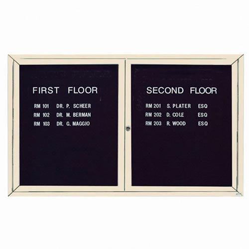 Aarco ADC3660IIV 2 Door Illuminated Enclosed Directory Board with Ivory Anodized Aluminum Frame 36
