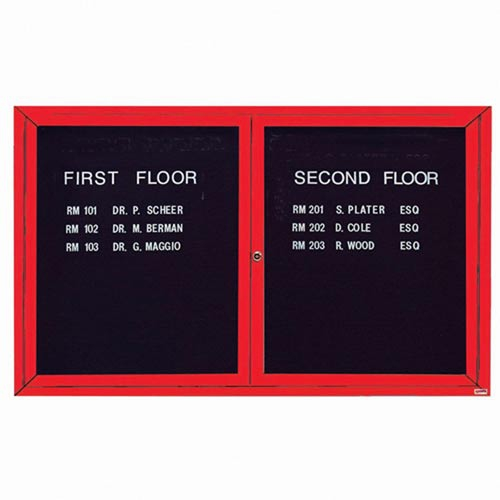 Aarco ADC3660IR 2 Door Illuminated Enclosed Directory Board with Red Anodized Aluminum Frame 36