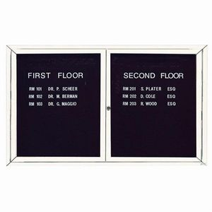 Aarco ADC3660IW 2 Door Illuminated Enclosed Directory Board with White Anodized Aluminum Frame 36