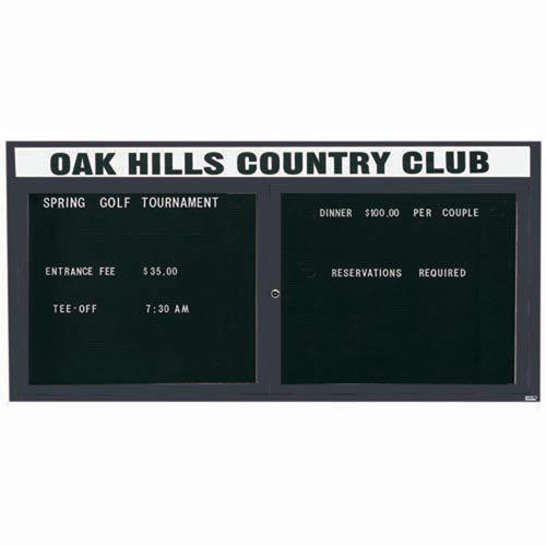 Aarco ADC3672HIBA 2 Door Illuminated Enclosed Directory Board with Bronze Anodized Aluminum Frame and Header 36