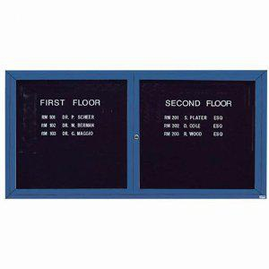 Aarco ADC3672IB 2 Door Illuminated Enclosed Directory Board with Blue Anodized Aluminum Frame 36