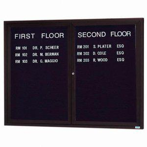 Aarco ADC4860IBA 2 Door Illuminated Enclosed Directory Board with Bronze Anodized Aluminum Frame 48