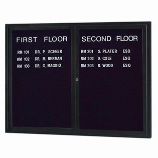Aarco ADC4860IBK 2 Door Illuminated Enclosed Directory Board with Black Anodized Aluminum Frame 48