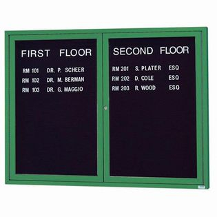 Aarco ADC4860IG 2 Door Illuminated Enclosed Directory Board with Green Anodized Aluminum Frame 48
