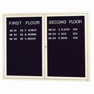 Aarco ADC4860IV 2 Door Illuminated Enclosed Directory Board with Ivory Anodized Aluminum Frame 48