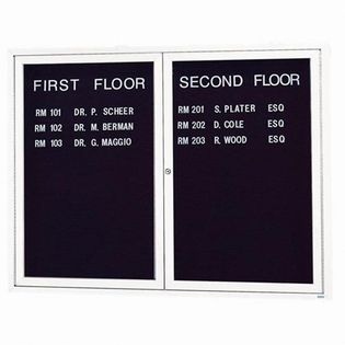 Aarco ADC4860IW 2 Door Illuminated Enclosed Directory Board with White Anodized Aluminum Frame 48