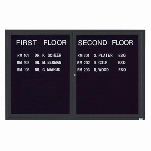 Aarco ADC4872IBA 2 Door Illuminated Enclosed Directory Board with Bronze Anodized Aluminum Frame 48