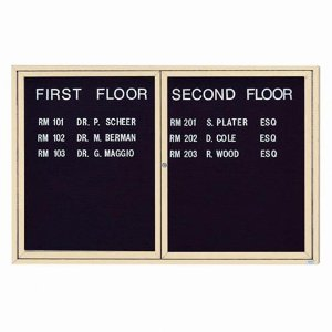 Aarco ADC4872IIV 2 Door Illuminated Enclosed Directory Board with Ivory Anodized Aluminum Frame 48