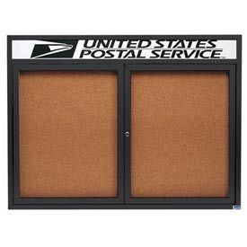 "Aarco DCC3648RHIBA 2 Door Indoor Illuminated Enclosed Bulletin Board with Bronze Anodized Aluminum Frame and Header 36"" x 48"""
