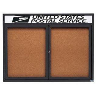 "Aarco DCC3648RHIBK 2 Door Indoor Illuminated Enclosed Bulletin Board with Black Powder Coated Aluminum Frame and Header 36"" x 48"""