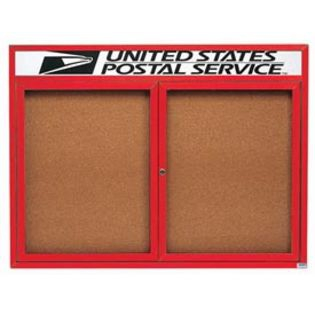 "Aarco DCC3648RHIR 2 Door Indoor Illuminated Enclosed Bulletin Board with Red Powder Coated Aluminum Frame and Header 36"" x 48"""