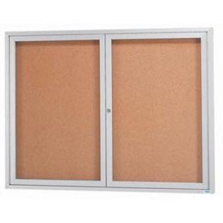 "Aarco DCC3648RI 2 Door Indoor Illuminated Enclosed Bulletin Board with Aluminum Frame 36"" x 48"""