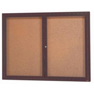 "Aarco DCC3648RIBA 2 Door Indoor Illuminated Enclosed Bulletin Board with Bronze Anodized Aluminum Frame 36"" x 48"""