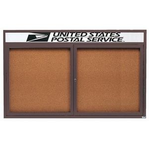 """Aarco DCC3660RHIBA 2 Door Indoor Illuminated Enclosed Bulletin Board with Bronze Anodized Aluminum Frame and Header 36"""" x 60"""""""