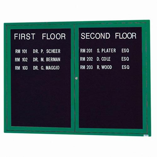 "Aarco DCC3660RHIG 2 Door Indoor Illuminated Enclosed Bulletin Board with Green Powder Coated Aluminum Frame and Header 36"" x 60"""