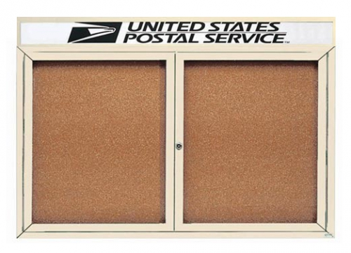 """Aarco DCC3660RHIV 2 Door Indoor Enclosed Bulletin Board with Ivory Powder Coated Aluminum Frame and Header 36"""" x 60"""""""