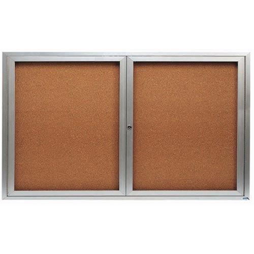 "Aarco DCC3660RI 2 Door Indoor Illuminated Enclosed Bulletin Board with Aluminum Frame 36"" x 60"""
