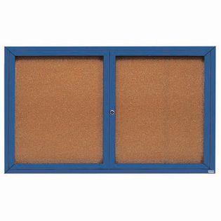 "Aarco DCC3660RIB 2 Door Indoor Illuminated Enclosed Bulletin Board with Blue Powder Coated Aluminum Frame 36"" x 60"""