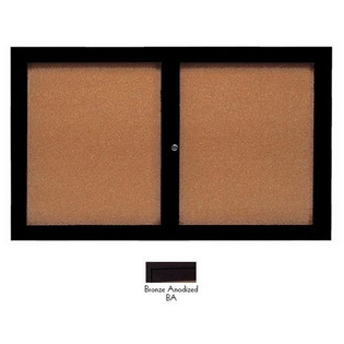 "Aarco DCC3660RIBA 2 Door Indoor Illuminated Enclosed Bulletin Board with Bronze Anodized Aluminum Frame 36"" x 60"""