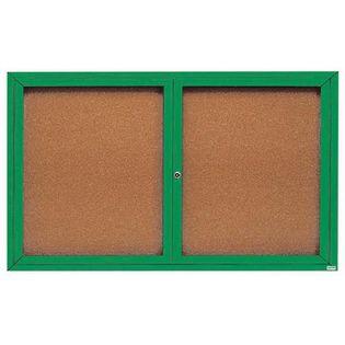 "Aarco DCC3660RIG 2 Door Indoor Illuminated Enclosed Bulletin Board with Green Powder Coated Aluminum Frame 36"" x 60"""