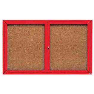 "Aarco DCC3660RIR 2 Door Indoor Illuminated Enclosed Bulletin Board with Red Powder Coated Aluminum Frame 36"" x 60"""