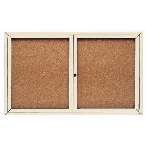 """Aarco DCC3660RIV 2 Door Indoor Enclosed Bulletin Board with Ivory Powder Coated Aluminum Frame 36"""" x 60"""""""