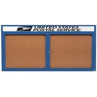 "Aarco DCC3672RHIB 2 Door Indoor Illuminated Enclosed Bulletin Board with Blue Powder Coated Aluminum Frame and Header 36"" x 72"""