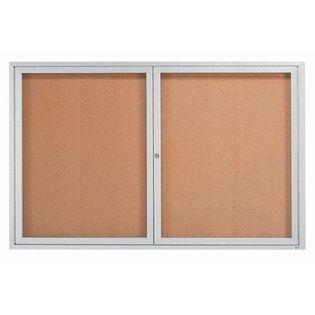 "Aarco DCC3672RI 2 Door Indoor Illuminated Enclosed Bulletin Board with Aluminum Frame 36"" x 72"""