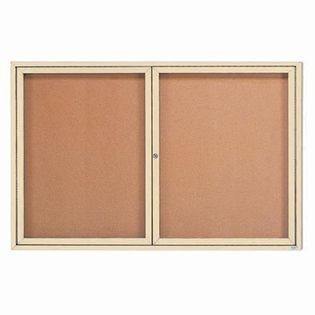 "Aarco DCC3672RIIV 2 Door Indoor Illuminated Enclosed Bulletin Board with Ivory Powder Coated Aluminum Frame 36"" x 72"""