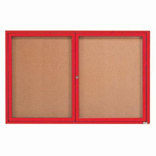 "Aarco DCC3672RIR 2 Door Indoor Illuminated Enclosed Bulletin Board with Red Powder Coated Aluminum Frame 36"" x 72"""