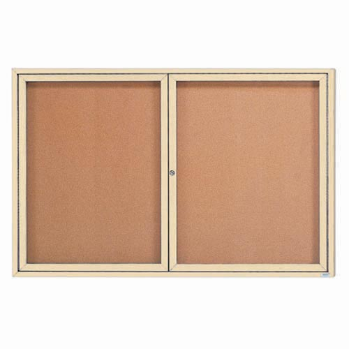 """Aarco DCC3672RIV 2 Door Indoor Enclosed Bulletin Board with Ivory Powder Coated Aluminum Frame 36"""" x 72"""""""