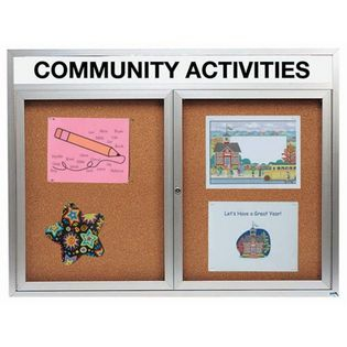 "AarcoDCC4860RHI 2 Door Indoor Illuminated Enclosed Bulletin Board with Aluminum Frame and Header 48"" x 60"""