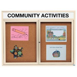 """Aarco DCC4860RHIV 2 Door Indoor Enclosed Bulletin Board with Ivory Powder Coated Aluminum Frame and Header 48"""" x 60"""""""