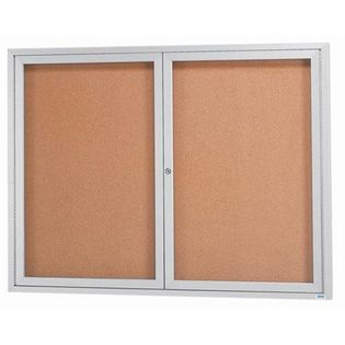 "Aarco DCC4860RI 2 Door Indoor Illuminated Enclosed Bulletin Board with Aluminum Frame 48"" x 60"""