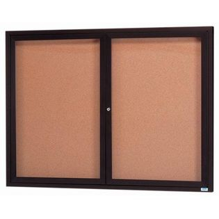 "Aarco DCC4860RIBA 2 Door Indoor Illuminated Enclosed Bulletin Board with Bronze Anodized Aluminum Frame 48"" x 60"""