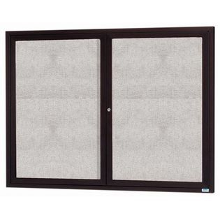 "Aarco DCC4860RIIV 2 Door Indoor Illuminated Enclosed Bulletin Board with Ivory Powder Coated Aluminum Frame 48"" x 60"""