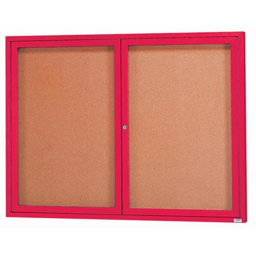 "Aarco DCC4860RIR 2 Door Indoor Illuminated Enclosed Bulletin Board with Red Powder Coated Aluminum Frame 48"" x 60"""