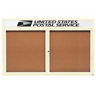 "Aarco DCC4872RHIIV 2 Door Indoor Illuminated Enclosed Bulletin Board with Powder Coated Aluminum Frame and Header 48"" x 72"""