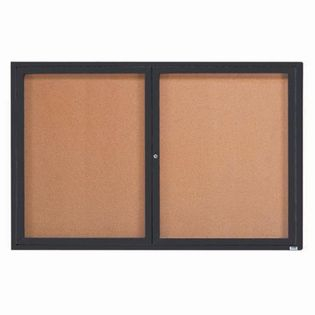 "Aarco DCC4872RIBA 2 Door Indoor Illuminated Enclosed Bulletin Board with Bronze Anodized Aluminum Frame 48"" x 72"""