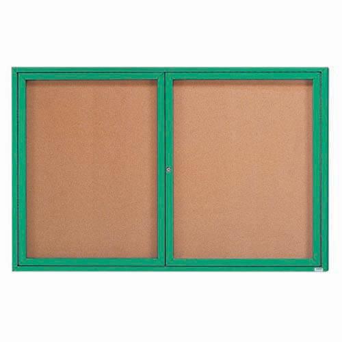 "Aarco DCC4872RIG 2 Door Indoor Illuminated Enclosed Bulletin Board with Green Powder Coated Aluminum Frame 48"" x 72"""