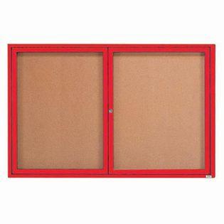 "Aarco DCC4872RIR 2 Door Indoor Illuminated Enclosed Bulletin Board with Red Powder Coated Aluminum Frame 48"" x 72"""