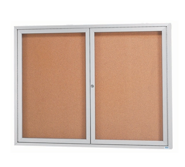 Aarco DCC3648R 2 Door Indoor Enclosed Bulletin Board with Aluminum Frame  36