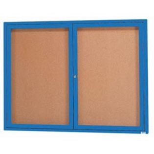 Aarco  DCC3648RB 2 Door Indoor Enclosed Bulletin Board with Blue Powder Coated Aluminum Frame  36