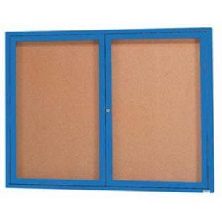 Aarco  DCC3648RB 2 Door Indoor Enclosed Bulletin Board with Blue Powder Coated Aluminum Frame  36