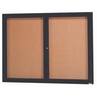 Aarco DCC3648RBK 2 Door Indoor Enclosed Bulletin Board with Black Powder Coated Aluminum Frame  36