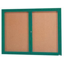 Aarco DCC3648RG 2 Door Indoor Enclosed Bulletin Board with Green Powder Coated Aluminum Frame  36