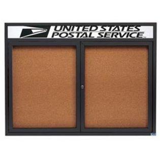 Aarco DCC3648RHBA 2 Door Indoor Enclosed Bulletin Board with Bronze Anodized  Aluminum Frame  and Header 36